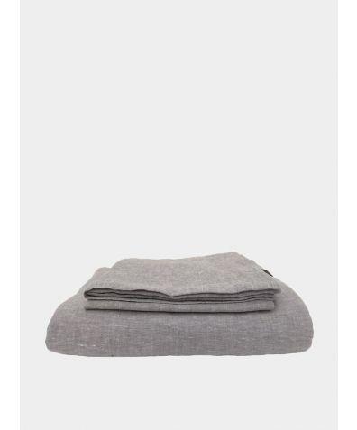 Linen Bedding Set - Melange Light Grey