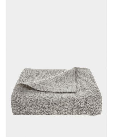 Wave Knitted Woollen Baby  Blanket - Grey