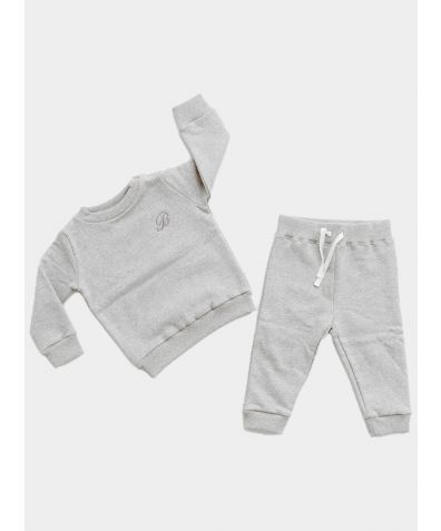 Marl Sweater & Jogger Set - Grey