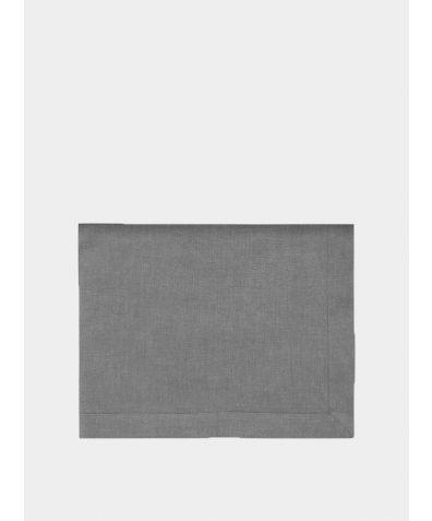 Linen Mitered Hem Tablecloth - Charcoal