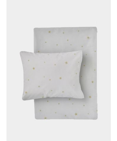 Organic Cotton Bed Linen Set - Starry Sky Grey / Gold