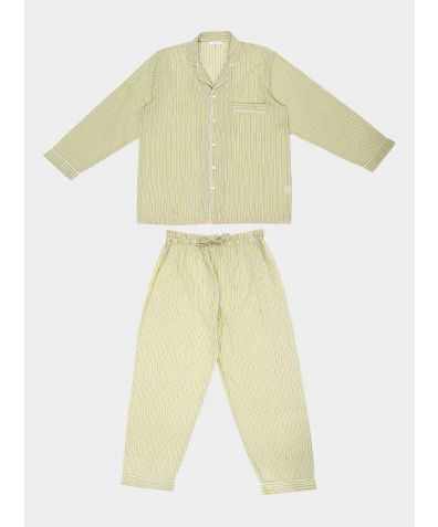 Mens Hara Cotton Pyjama Trouser Set - Green & White Stripe