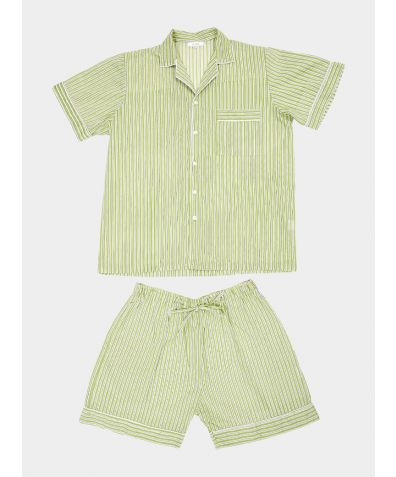 Mens Hara Cotton Pyjama Short Set - Green & White Stripe