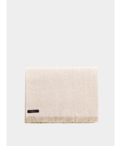 Herringbone Linen Throw – Ivory