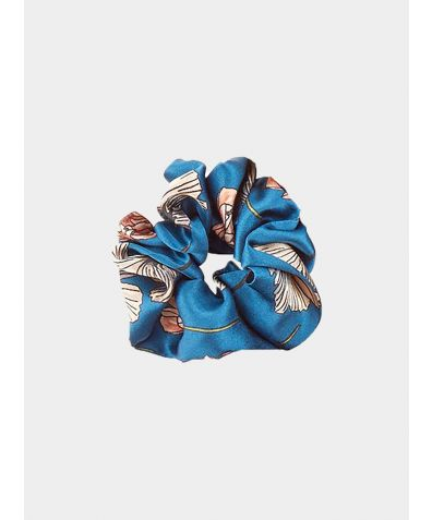 Silk Scrunchie - Blue Poppy