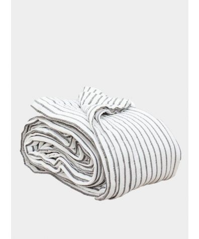 Hikari Stripe Throw - Grey & White Stripe