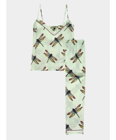 Women's Satin Cami Pyjama Trouser Set - Blue Dragonfly