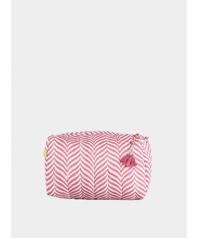 Indore Soft Herringbone Wash bag - Pink