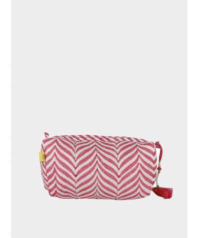 Indore Soft Herringbone Make Up Bag - Pink