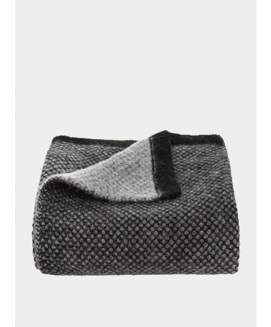 Inti Knitted Baby Blanket - Black and Soft Grey