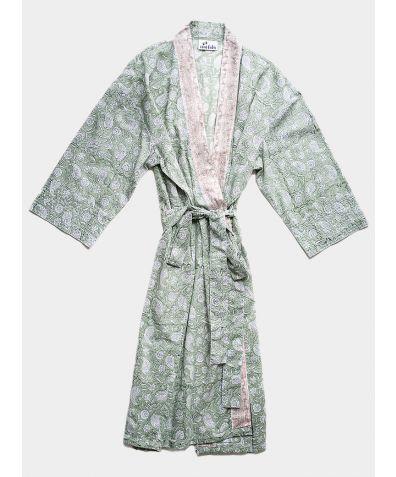 Organic Cotton Block Printed Robe - Kesar