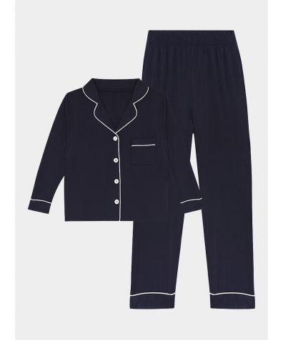 Boys Sebby Bamboo Viscose Pyjama Trouser Set - Navy