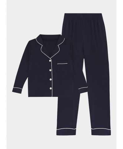 Girls Gilly Bamboo Viscose Pyjama Trouser Set - Navy