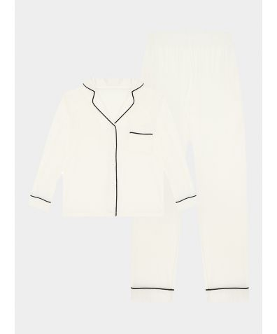 Girls Gilly Bamboo Viscose Pyjama Trouser Set - White