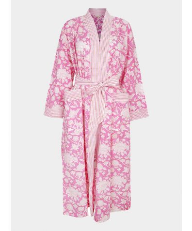 Hand Printed Kimono Cotton Robe - Hibiscus