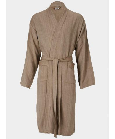 Mete Turkish Cotton Lounge Gown - Taupe