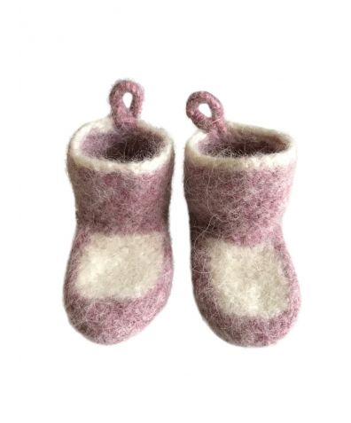 Baby's Calm Icelandic Wool Slipper- Socks - Pink & White