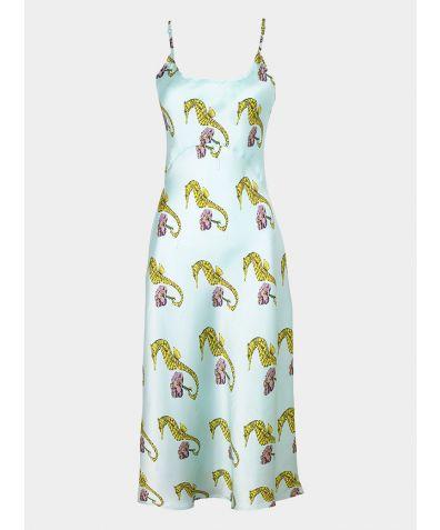 Women's Satin Nightdress - Aqua Seahorse