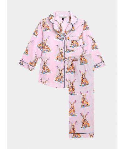 Women's Cotton Pyjama Capri Trouser Set - Snow Hare (COMING SOON)