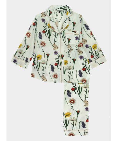 Women's Maternity Cotton Pyjama Trouser Set - White Field Flowers