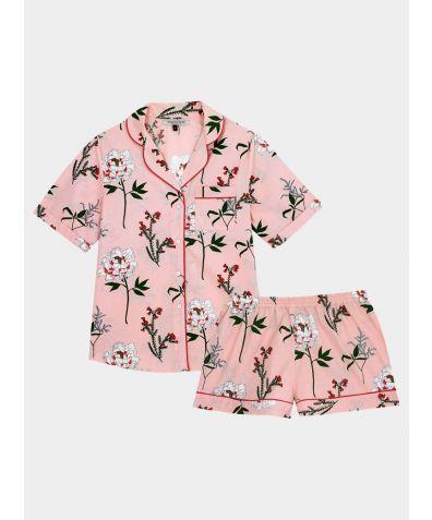 Women's Cotton Pyjama Short Set - Pink Peony (COMING SOON)