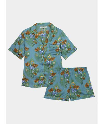 Women's Satin Pyjama Short Set - Teal Mardi Gras (COMING SOON)