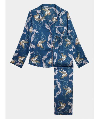 Women's Satin Pyjama Trouser Set - Crane Blossom (COMING SOON)