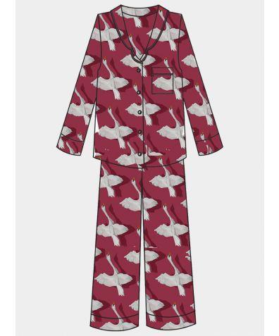 Women's Satin Pyjama Trouser Set - Shadow Swan