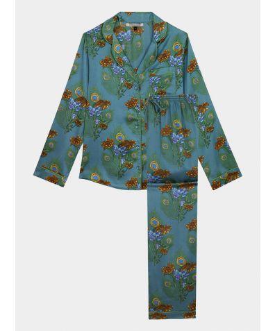 Women's Satin Pyjama Trouser Set - Teal Mardi Gras (COMING SOON)