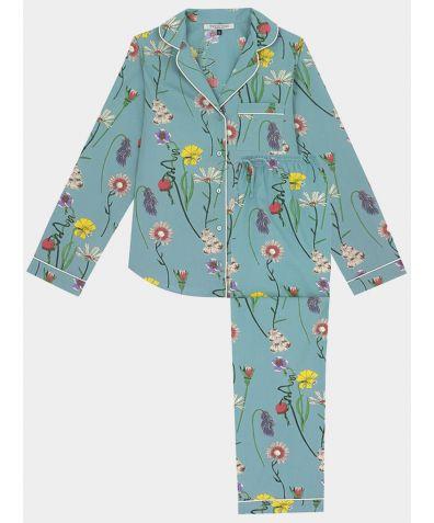 Women's Cotton Pyjama Trouser Set - Field Flowers