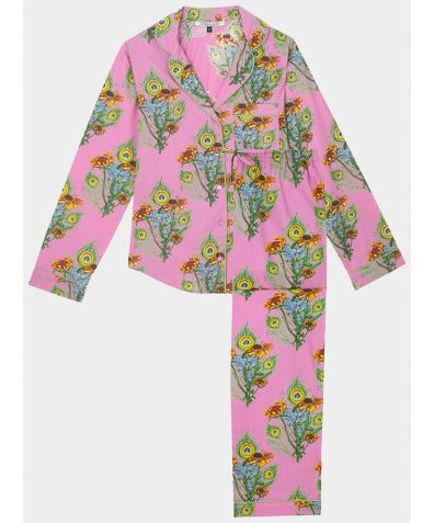 Women's Cotton Pyjama Trouser Set - Mardi Gras Bouquet