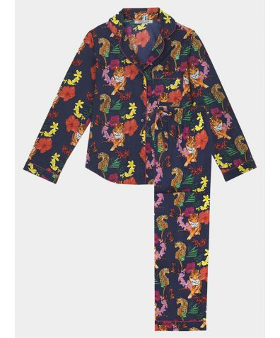 Women's Cotton Pyjama Trouser Set - Navy Tropical Tiger (PRE-ORDER)