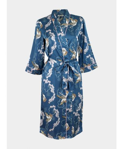 Satin Belted Wrap Robe - Crane Blossom (COMING SOON)