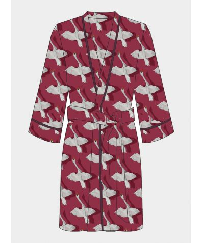 Satin Belted Wrap Robe - Shadow Swan