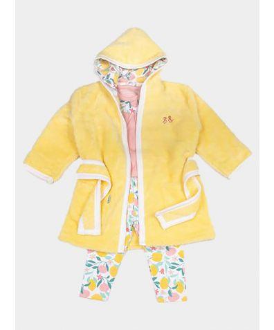 Girls Dressing Gown and Jersey Pyjamas Luxury Gift Set - Lemon Grove