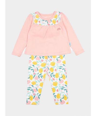 Girls Jersey Pyjamas in Organic Cotton - Lemon Grove