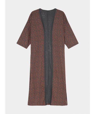 Women's Organic Pima Cotton Long Open Kimono - Leopard