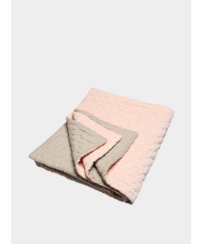 Velvet Linen Bedspread -  Nude Pink