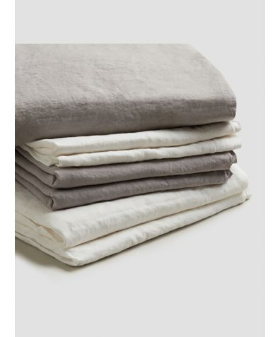 Natural French Flax Linen Bedtime Bundle - Dove Grey