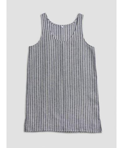 Linen Nightdress - Navy Stripe