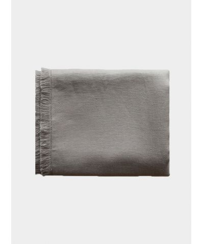 Pale Grey Fringe Linen Throw