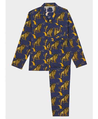 Mens Cotton Pyjama Trouser Set - Lion Moon