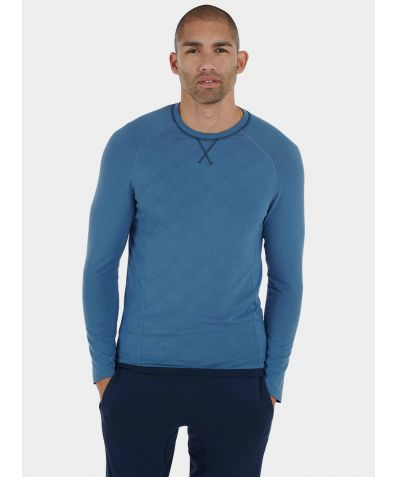 Mens Nattwell® Sleep Tech Long Sleeve Top - Still Blue