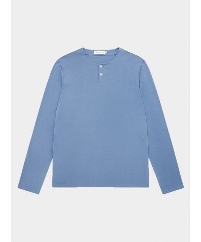 Long Sleeve Henley T-Shirt - Mineral Blue