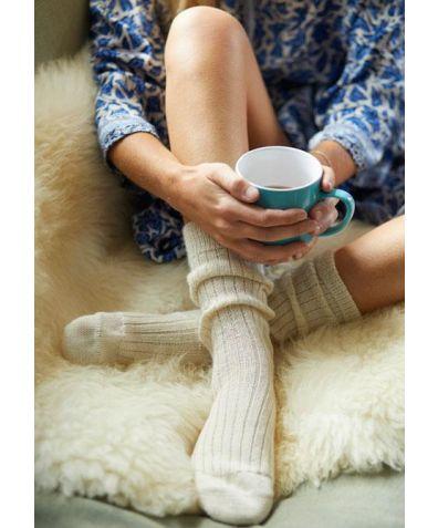 Mulberry Silk & Alpaca Bed Socks - Cream