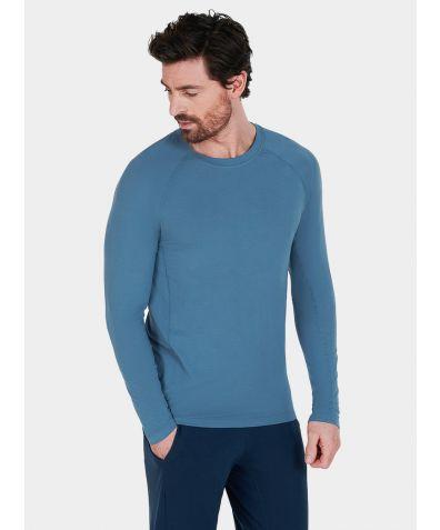 Mens Nattwell® Sleep Tech Long Sleeve Top - Still Blue