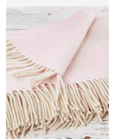 Super Soft Reversible Merino Wool Throw - Rose Blush Pink