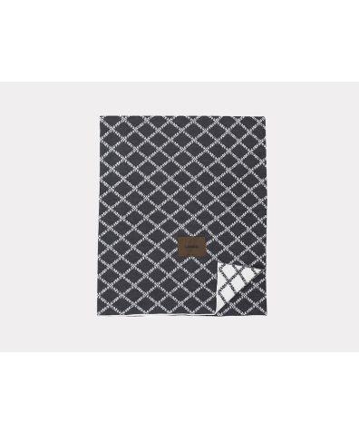 Merino Wool Blanket - Dark Grey White