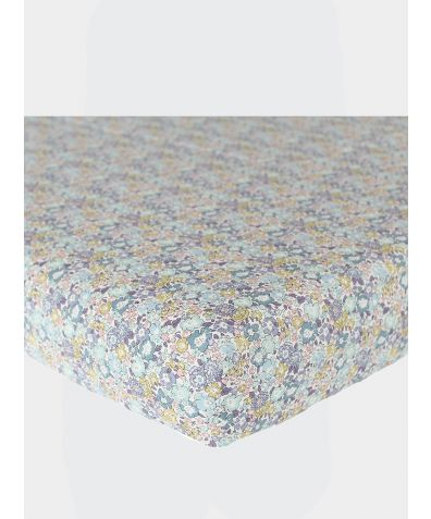Liberty Print Fitted Sheet - Michelle Sea Green