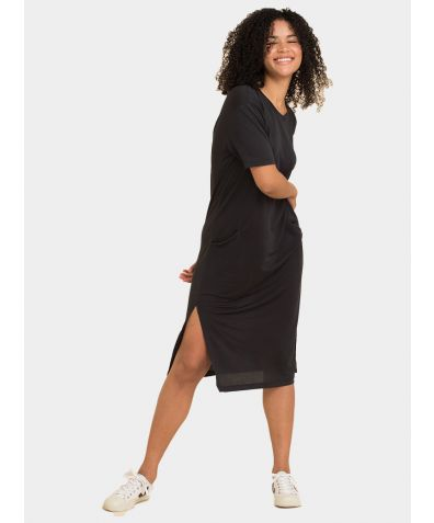 The Midi T-Dress - Almost Black